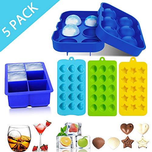Flamen 5er-Pack Eiswürfelschalen, leichtes Herausnehmen Silikon Eiswürfel, Eiswürfelbereiter, BPA-frei, für Whiskey, Cocktails, Süßigkeiten, Schokoladenformen, herzförmige Pentagramm-Eiswürfelformen