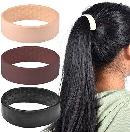Faltbarer Pferdeschwanz-Halter, Silikon, faltbar, stationär, elastisches Haarband, Frauen, Pferdeschwanz-Halter, Werkzeug, multifunktionales Haar-Zubehör (Beige)