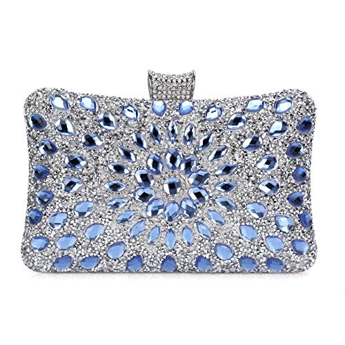 Bolso de Mujer,Bolso de Noche Lujo de Hombro Billetera Embrague con Cadena Bolso de Hard Shell Clutches del Banquete Fiesta Boda-Azul