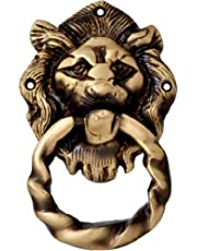 Two Moustaches Lion Mouth with Moulded Ring Brass Door Knocker