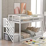 Twin Over Twin Floor Bunk Bed with Stairs and Storage Shelves, Baysitone Wood Low Bunk Bed Frame with Ladder and Guardrails / Easy to Assemble / No Box Spring Required (White)