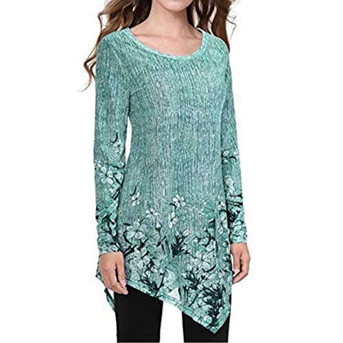 MENAB Womens Casual Langarm Sweatshirt Seite Split Loose Round Neck Tunika Pullover Tops Pullover Kleid Langarm Tunika Sweatshirt Tops Loose Long Jumper Pullover Causal T-Shirt Kleid Blusen
