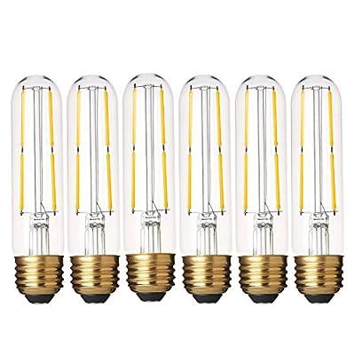 Dimmable T10 LED Bulbs Warm White 2700K LED Tubular Edison Light Bulbs 4W Tube Vintage Led Bulbs 40 Watt Equivalent,E26 Base, LED Filament Retro Bulb for Desk Lamp, Pendant Lights,Pack of 6
