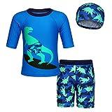 Edjude Traje de Baño De Una Pieza Niño Protección Solar Anti-UV Bañador Ropa de Piscina Natación con Gorra de Baño Dinosaurio Azul 2-3 Años