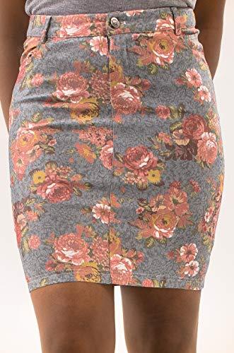 Falda Midi Corta Verano Mujer Falda Fiesta Talla Grande, Minifalda Sexy Tamaño ES 38 (Medium) Multicolor Rosa Azul (Floral Blue Pink)