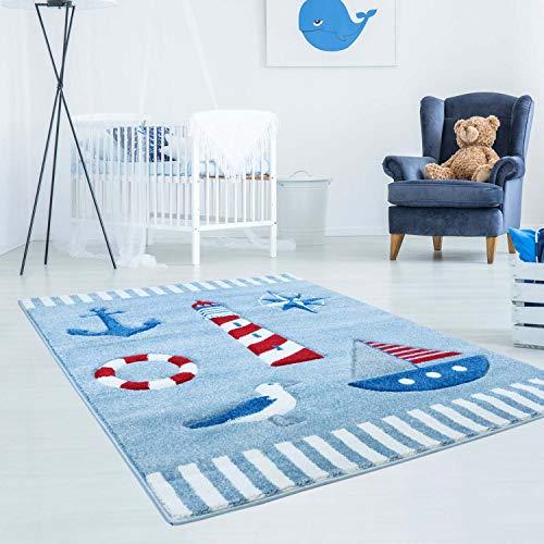 carpet city Kinderteppich Bueno Maritim Anker Schiff Möwe in Blau, Rot mit Konturenschnitt für Kinderzimmer; Größe: 140x200 cm