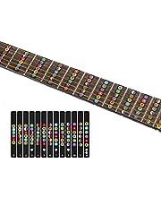 ملصقات بخريطة وضع الاصابع لنغمات الجيتار، 6 ملصقات احتكاك لاوتار جيتار كهربي اكوستك