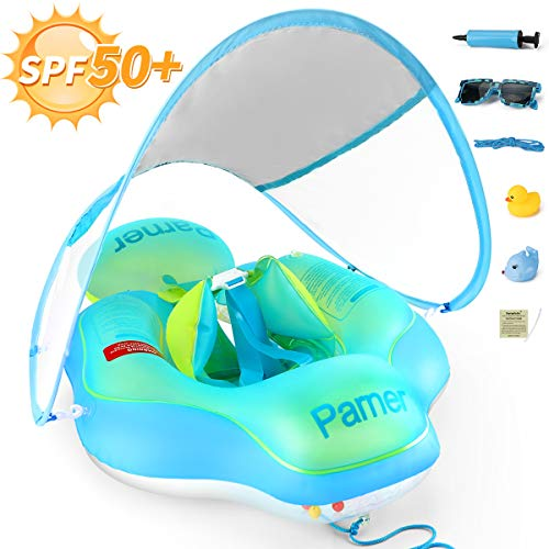 Parner Pool Float Babies Swimming Floats, SPF 50+ Sun Canopy Inflatable Baby Ring Bath Float, Water Neck Float with Safety Bottom Support Swim Buoy for Toddler Baby Boy Girl Age of 6-36 Months, Large