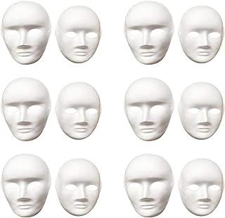 Vankcp 12 Pcs DIY White Mask, Halloween White DIY Mask,Plain Mask White Mask Paper Full Face Opera Masquerade Mask
