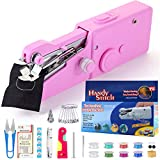 buyfitcase Portable Sewing Machine, Mini Sewing Professional Cordless Sewing Handheld Electric Household Tool - Quick Stitch Tool for Fabric, Clothing, or Kids Cloth Home Travel Use-Pink