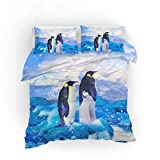 Ropa de Cama 3D Animal Pingüino Hielo y Nieve Impresión Azul Funda nórdica y Funda de Almohada Poliéster (Pingüino 3,200x200 cm - Cama 135 cm)