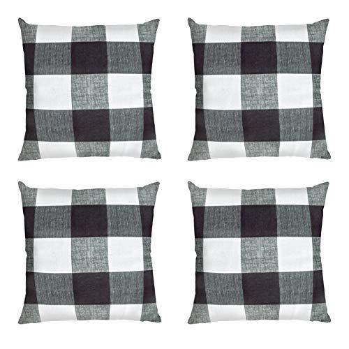 Ouddy Farmhouse Buffalo Check Plaid Throw Pillow Covers 20 x 20 Set of 4, Decorative Square Plaid Pillow Covers Case Cotton Linen Cushion for Fall Chritsmas Outdoor Home Proch Decor Sofa Bedroom Car