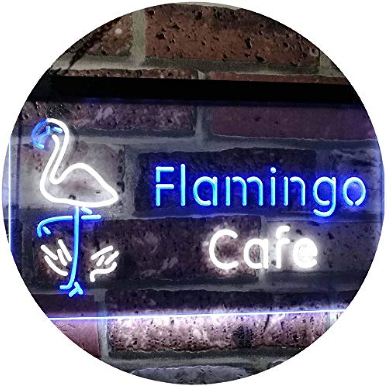 ADVPRO Flamingo Café Kitchen Dual Farbe LED Barlicht Neonlicht Lichtwerbung Neon Sign Weiß & Blau 16  x 12  st6s43-i2828-wb