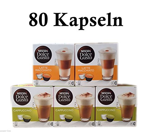 80 coffee capsules in 5 flavours, coffee pads for coffee machines Krups, DeLonghi, Nescafe Dolce Gusto