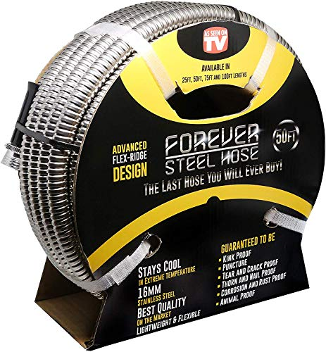 FOREVER STEEL HOSE | 50FT 304 Heavy Duty Stainless Steel Metal Garden Water Hose - Kink Free,...
