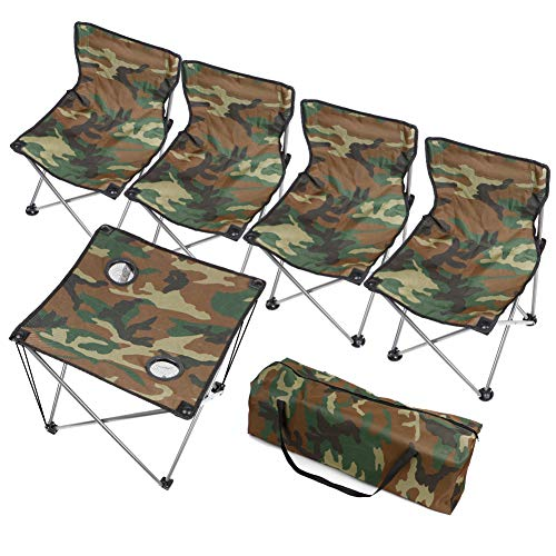 LAMPTOP Portable Camping Side Table for Outdoor Picnic, 5Pcs Table and Chair Combination, Table and Chair Set - Camouflage