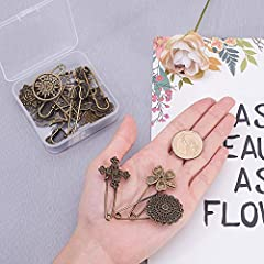 NBEADS 15 Pcs Retro Mixed Shaped Vintage Alloy Safety Brooch Pins, Mixed Sizes Decorative Hijab Pins Safety Steampunk Findings for Sweater Scarf Cloth Garment Bag Hat Cardigan Decor #2