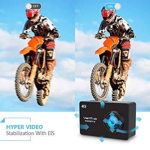 VanTop 4K Action Cam mit Touchscreen, 20MP WiFi Ultra HD wasserdichte Action Kamera, 30m Unterwasserkamera, mit 32 GB TF Karte, 2 Batterien und Zubehör kits - 3