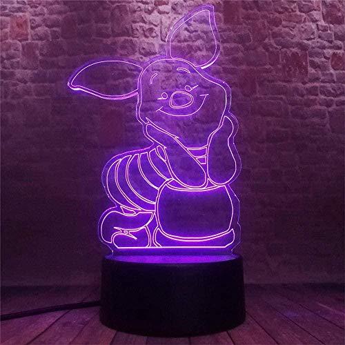 Winnie The Pooh Piglet 3D Luz de noche para niños Lámpara de ilusión 3D, cargador USB, juguetes bonitos para regalos Ideas de cumpleaños, vacaciones de Navidad para bebé