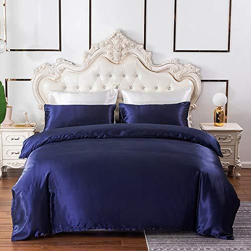 Navy Bedding Queen Silk Like Satin Duvet Cover Set Dark Blue Silky Comforter Cover Soft Honeymoon Hotel Bedding Collection for Adult Bedroom Decorative,2 Pillow Shams,Zipper,Lightweight Brushed,Double