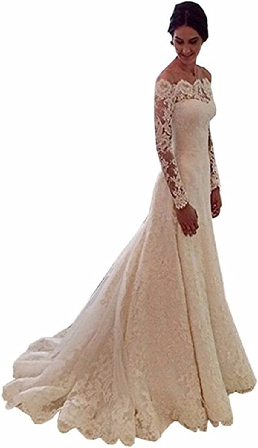 Ellystar Women's Mermaid Lace Long Sleeve Covered Button Bateau Bridal Dresses