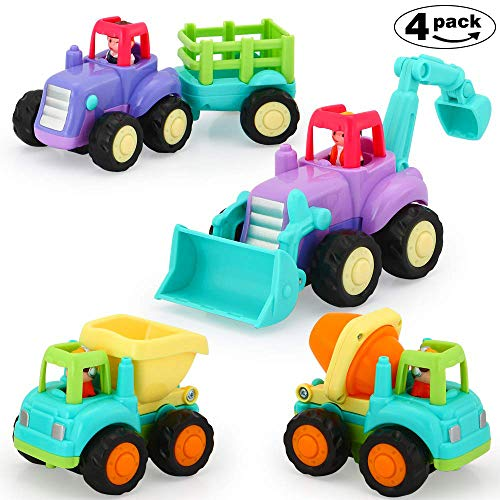 Best Price VATOS Baby Friction Powered Cars Toy,4 Pack Push and Go Tractor & Truck Toys for 1 2 3 Ye...
