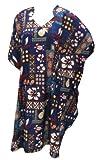 LA LEELA Mujer Kaftan Túnico Impreso Kimono Estilo Más tamaño Vestido para Loungewear Vacaciones Ropa de Dormir & Cada día Cubrir para Arriba Tops Camisolas Playa Azul_M930