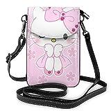 Hello Kitty Bow-Knot - Bolso bandolera de piel para teléfono celular, bolsa de viaje, bolsa de hombro con Cred.