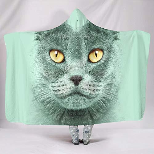 OwlOwlfan Cute Cat Face Hood Blanket Lightweight Cozy Microfiber Reversible Sofa Blanket Throws Fits Travel Office Dorm for Girls Boys white 60x80 inch