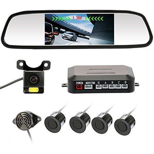 Rear View Camera 4.3' inch Waterproof IR Night Vision Car Dash Cam Rearview Mirror Backup Camera With 4 Parking Sensors 170 Wide Angle Reverse/Rear View Cam tft-lcd Display Accfly