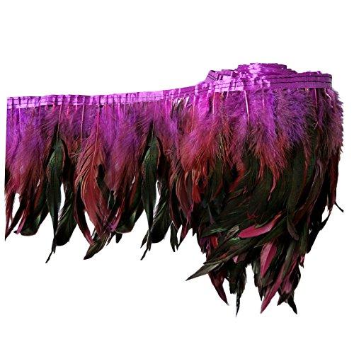 keland 2 yardas de pluma de gallo recortar flecos 5-8'en ancho DIY falda de mantón del cabo...