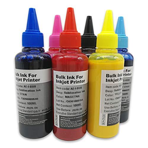 Tinta de sublimación 6x100ml compatible para impresoras Epson 6 Color, tales como T50 T59 T60 P50 1400 1410 1500W R300 RX600 L1800 L800 L805 L810 L850 Impresora, tinta de transferencia térmica