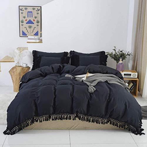 Funda de edredón bohemia de algodón con borla para decoración de dormitorio, colcha de Donna gitana, funda de cama con fundas de almohada (01 capas), California King 248,9 x 264,2 cm)