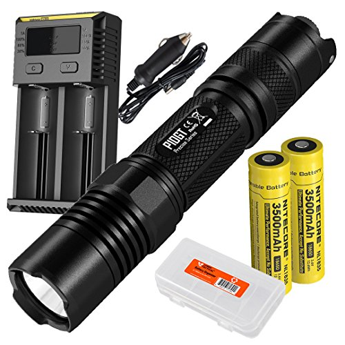 P10GT 900 Lumens Rechargeable Tactical LED Flashlight, Two Nitecore 3500mAh Batteries, I2 Charger and LumenTac Battery Organizer