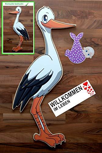 SET - 95 cm Babystorch aus Holz & Baby MÄDCHEN & Beschriftungstafel für draußen Geburt Storch-Holz Klapperstorch Holzstorch ROSA (ZWEISEITIG bedruckt, 95x45 cm)