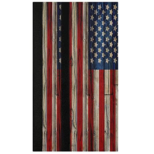 Oarencol Juego de 2 fundas para manija de puerta de nevera, de madera, con bandera americana, decoración patriótica de electrodomésticos de cocina para nevera, horno, lavavajillas