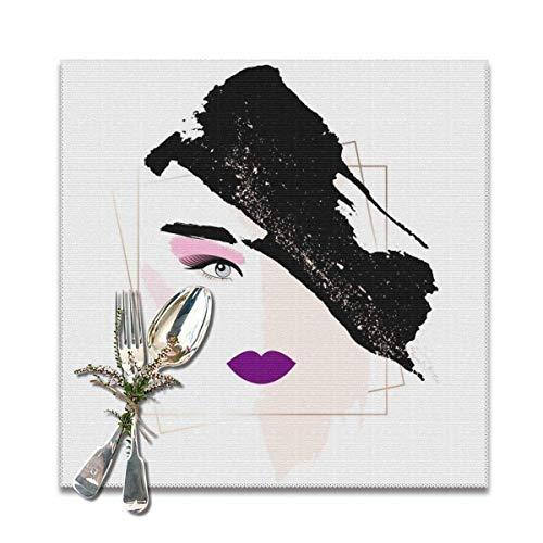 Juego de 6 manteles individuales, rostro de mujer con maquillaje. Cara abstracta. Desnudo, rosa, dorado, lila, pinceladas negras. Manteles individuales resistentes al calor, tapetes lavables para