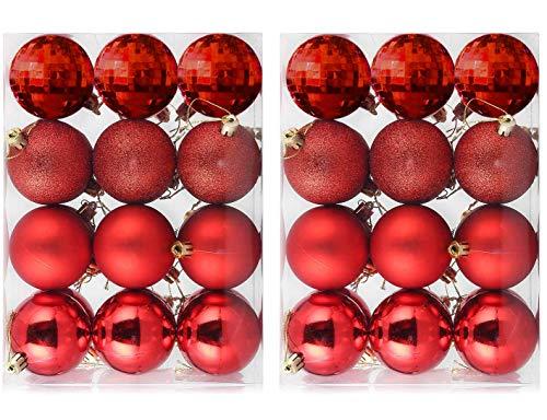 24Pcs Decorazioni per Alberi di Natale Palle di Natale Ornamenti Bagattelle di Natale Palle Appese per Albero di Natale con Palline Sospese Infrangibili Fissate per Decorazioni per Feste - Rosso
