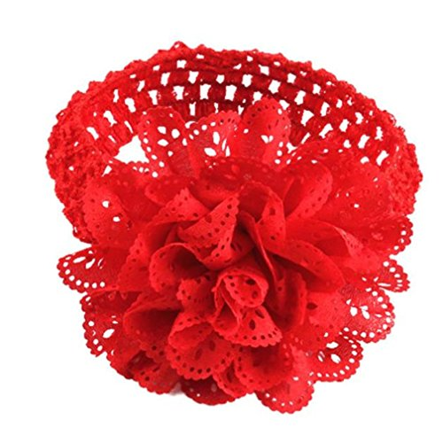 Huhu833 Baby Kinder Mädchen Spitze Blume Haarband Stirnband Dress Up Kopfband (Rot)