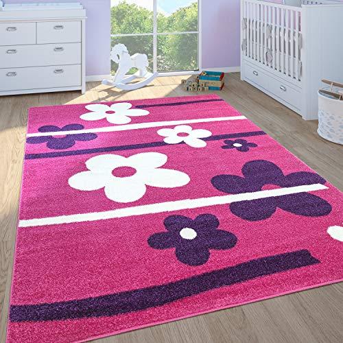 Paco Home Kinderteppich Kinderzimmer Spielteppich Kurzflor Motiv Blumen In Pink Lila, Grösse:160x220 cm