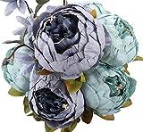 Ruiuzi Vintage Ramo de Flores de peonia Rosa, Artificial, para Boda decoración para el hogar (Grey Blue)
