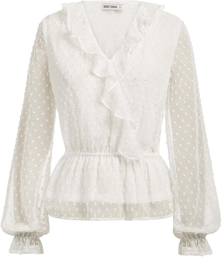 1930s Style Blouses, Shirts, Tops   Vintage Blouses GRACE KARIN Womens Long Sleeve V Neck Ruffle Blouse Swiss Dot Chiffon Peplum Wrap Tops Shirts  AT vintagedancer.com