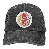 Gorra de béisbol ajustable con copos de avena y fruta, color negro