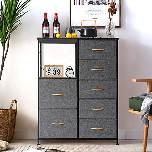 Crestlive Products 7 drawers dresser, Vertical Storage Tower with Shelves, Fabric Bins, Versatile Cabinet, Organizer Unit for Bedroom, Closet, Living Room, Hallway, Entryway, Wood Handles (Gray)