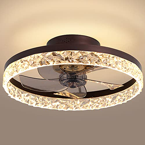 19.7' Ceiling Fan with Lights, LED 3 Color 3 Speeds Timing with Remote Control, Semi Flush Mount Low...