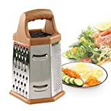 YAVO-EU Vierkantreibe Gemüsehobel Edelstahl 6 Reibflächen Multireibe Küchenreibe zum feinen/groben Reiben und Schneiden