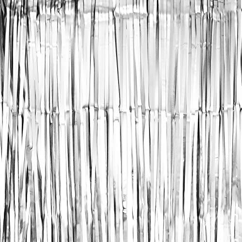 Oblique Unique® Lametta Vorhang 100x200 cm für Weihnachten Silvester Geburtstag Party Feier Fasching Karneval Dekoration Blau Gold Bronze Grün Silber - wählbar (Silber (matt))