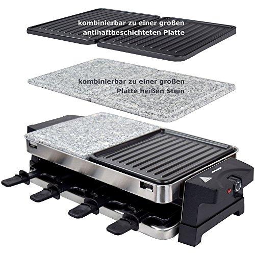 Syntrox Germany RVS Design Raclette Bern 3 in 1 met grill en hete steen voor 8 personen