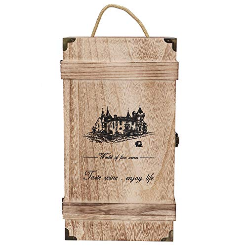 Cerlingwee Caja de Almacenamiento de Vino, Caja de Transporte de Vino Decorativa de Madera Natural para 2 Botellas, para la Fiesta de cumpleaños de la Barra de los Amantes del Vino en casa