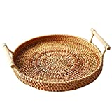 WOSHI 9.45in Rattan Storage Tray Round Basket 3 Size Fruit Food Breakfast Display Hand-Woven Rattan Tray Round Basket Wicker Basket Storage Tray with Handle(M)